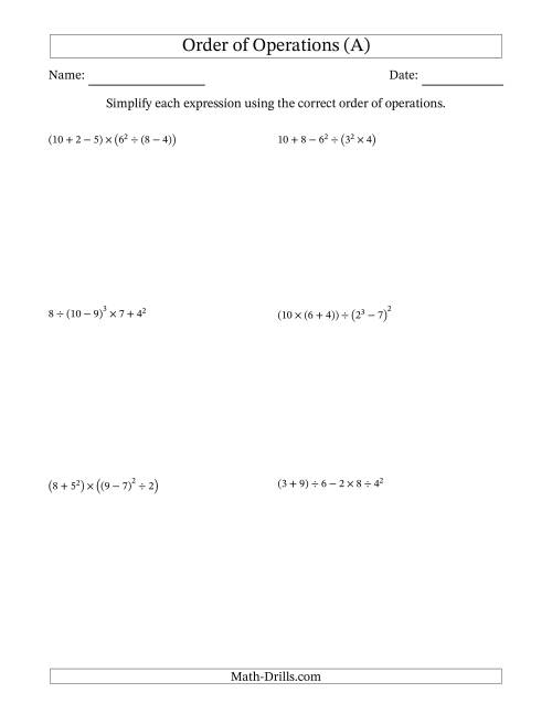 hight resolution of Order of Operations with Whole Numbers (Six Steps) (A)