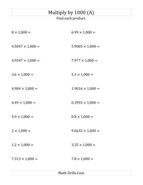 Multiplying Decimals By 1 000 A