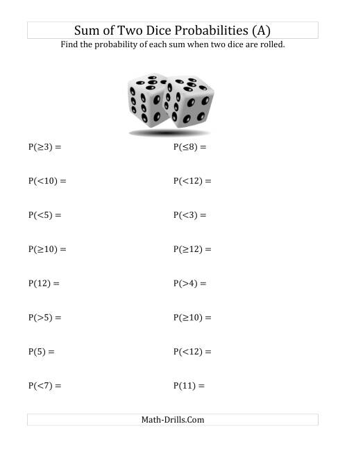 Sum Of Two Dice Probabilities A