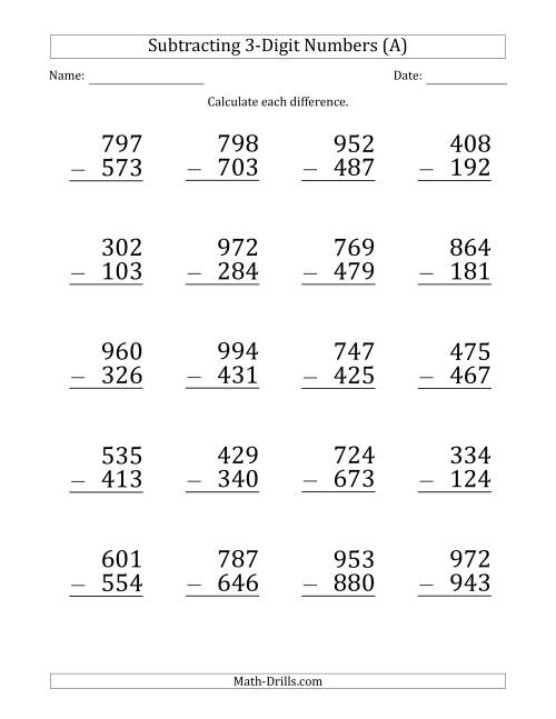 3rd Grade Math Worksheets Addition And Subtraction Thekidsworksheet –  Cute766
