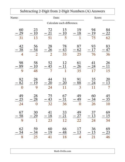 2-Digit Minus 2-Digit Subtraction (A) [ 1165 x 900 Pixel ]