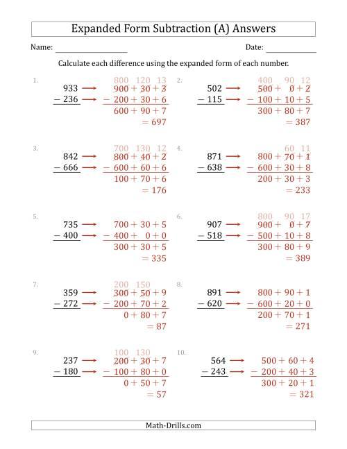 3-Digit Expanded Form Subtraction (A) [ 1165 x 900 Pixel ]
