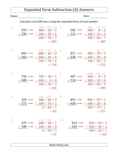 hight resolution of 3-Digit Expanded Form Subtraction (A)