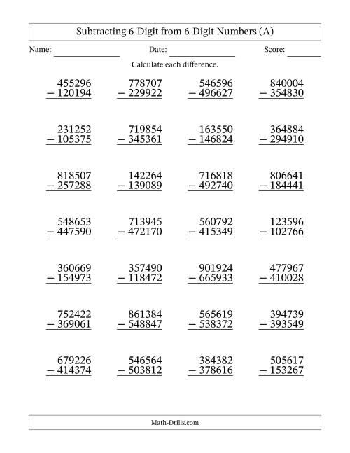 6-Digit Minus 6-Digit Subtraction (A) [ 1165 x 900 Pixel ]