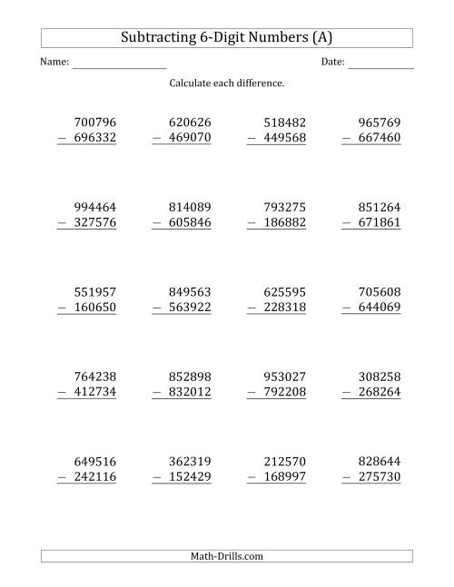 medium resolution of 6-Digit Minus 6-Digit Subtraction (A)