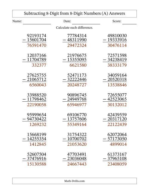 8-Digit Minus 8-Digit Subtraction (A) [ 1165 x 900 Pixel ]
