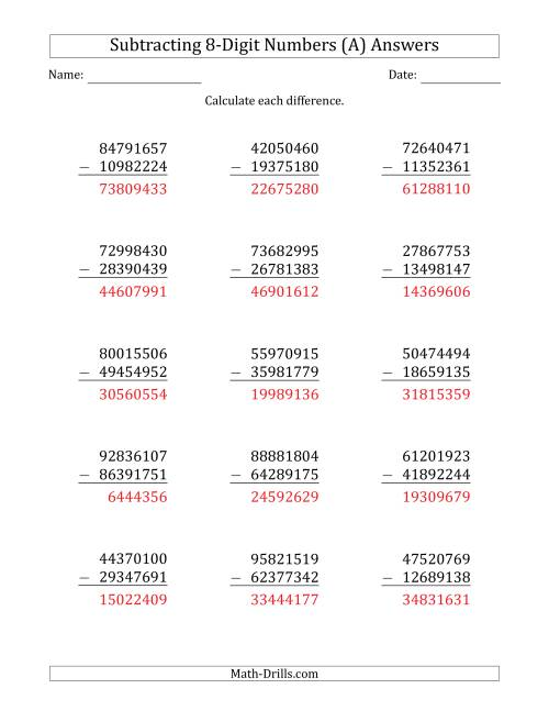 hight resolution of 8-Digit Minus 8-Digit Subtraction (A)