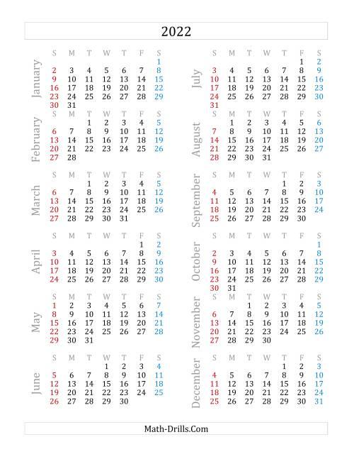 2022 Yearly Calendar (A)