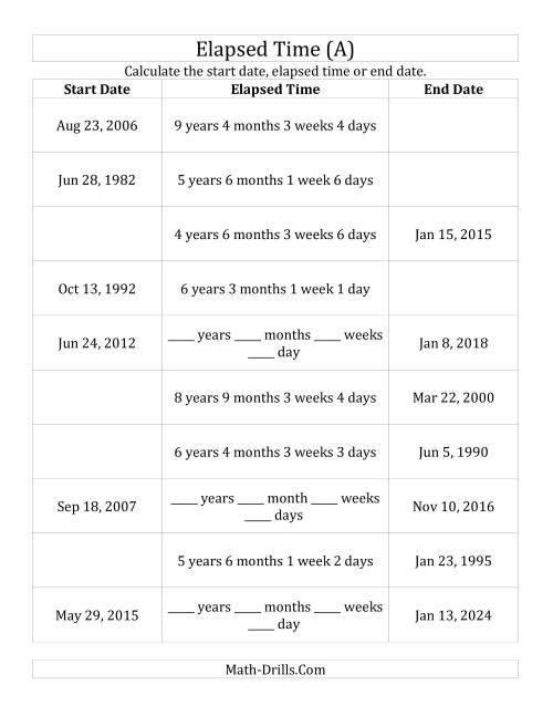 medium resolution of Calculating Various Start Dates