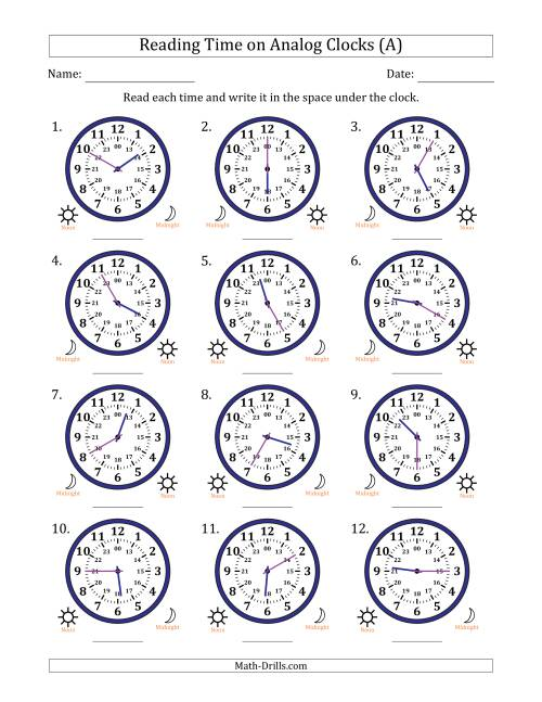 Reading Time on 24 Hour Analog Clocks in 5 Minute