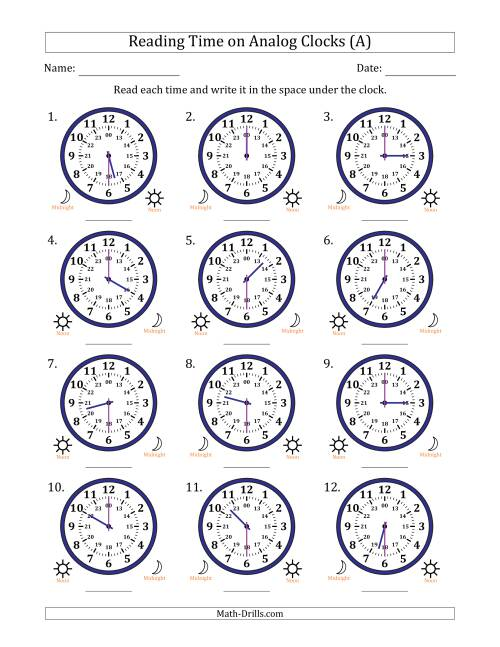 Reading Time on 24 Hour Analog Clocks in Half Hour
