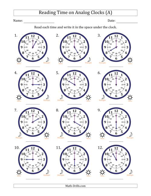 Reading Time on 24 Hour Analog Clocks in Hour Intervals (A)