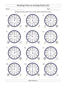 Reading Time on 24 Hour Analog Clocks in Hour Intervals