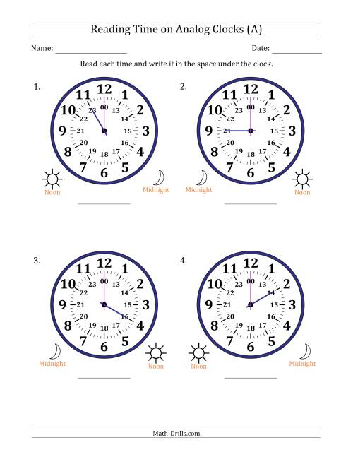 Reading Time on 24 Hour Analog Clocks in One Hour