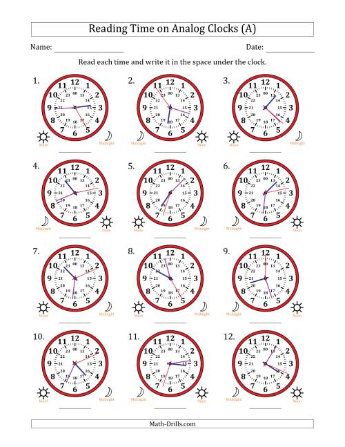 Reading Time on 24 Hour Analog Clocks to the Second (A)