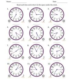 Reading 12 Hour Time on Analog Clocks in 5 Minute Intervals (12 Clocks) (A) [ 1165 x 900 Pixel ]