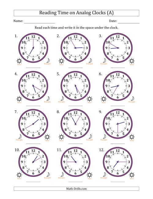 medium resolution of Reading 12 Hour Time on Analog Clocks in 5 Minute Intervals (12 Clocks) (A)