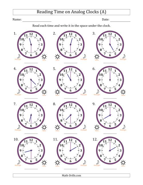 Image Result For Clock Worksheet With Answers