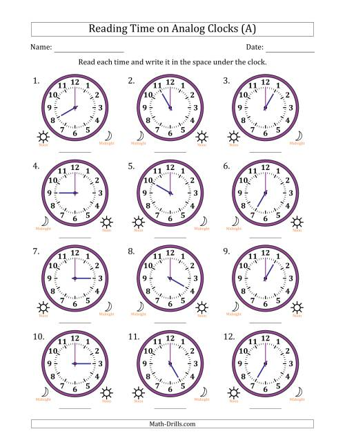 Reading Time on 12 Hour Analog Clocks in One Hour