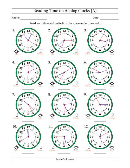 Reading Time on 12 Hour Analog Clocks in 5 Second
