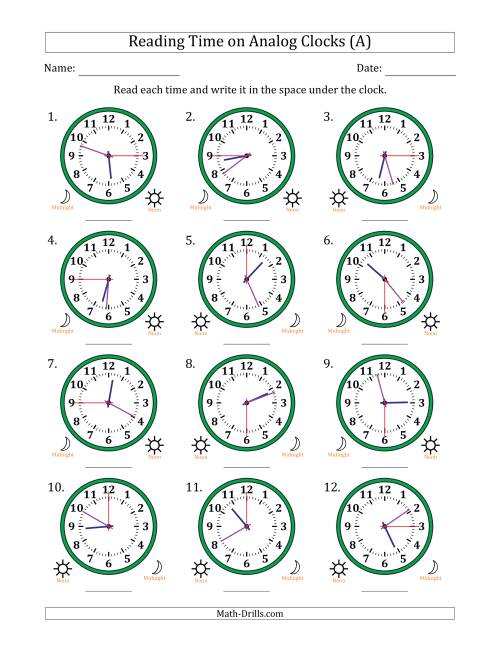 Reading Time on 12 Hour Analog Clocks in 15 Second