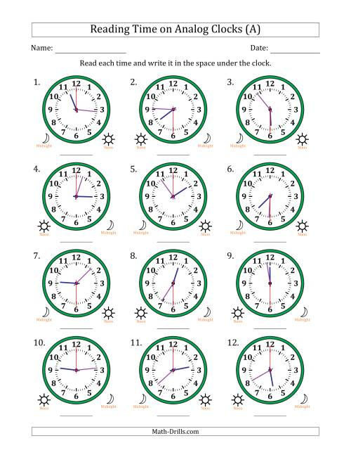 Reading Time on 12 Hour Analog Clocks in 30 Second