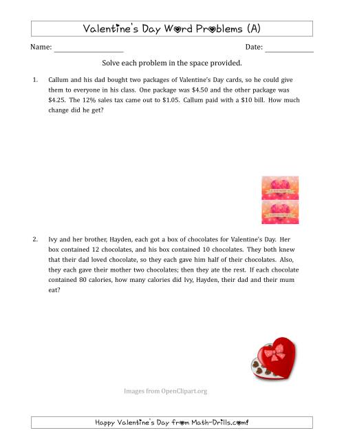 hight resolution of Valentine's Day Math Word Problems (Multi-Step) (A)