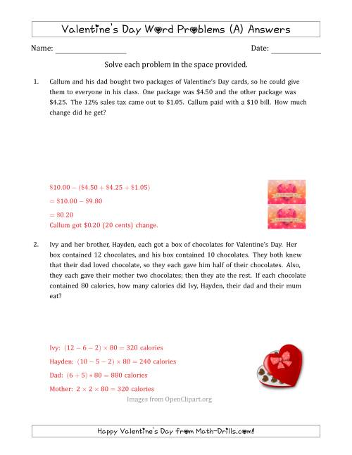 Valentine's Day Math Word Problems (Multi-Step) (A) [ 1165 x 900 Pixel ]