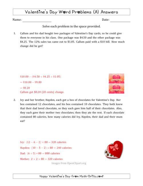 Valentine's Day Math Word Problems (Multi-Step) (A) [ 1165 x 900 Pixel ]