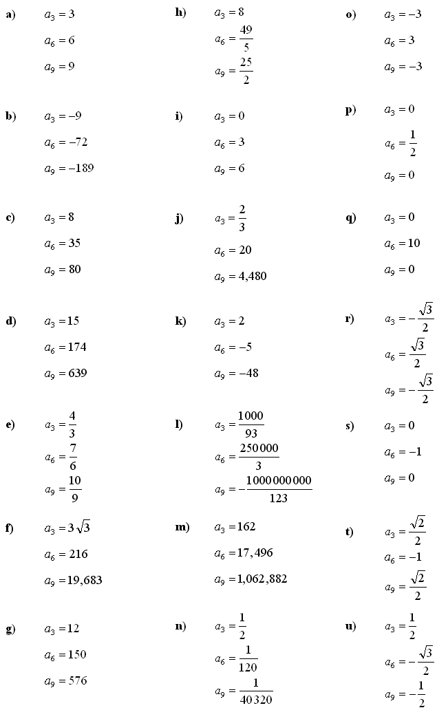 Answers to Math Exercises & Math Problems: Sequence