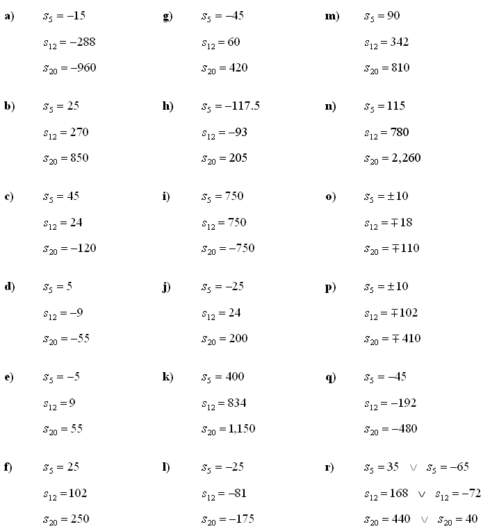 Answers to Math Exercises & Math Problems: Arithmetic Sequence