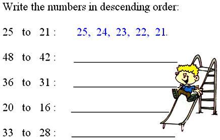 Ascending Order or Descending Order  Bigger to Smaller number  Smaller to Bigger