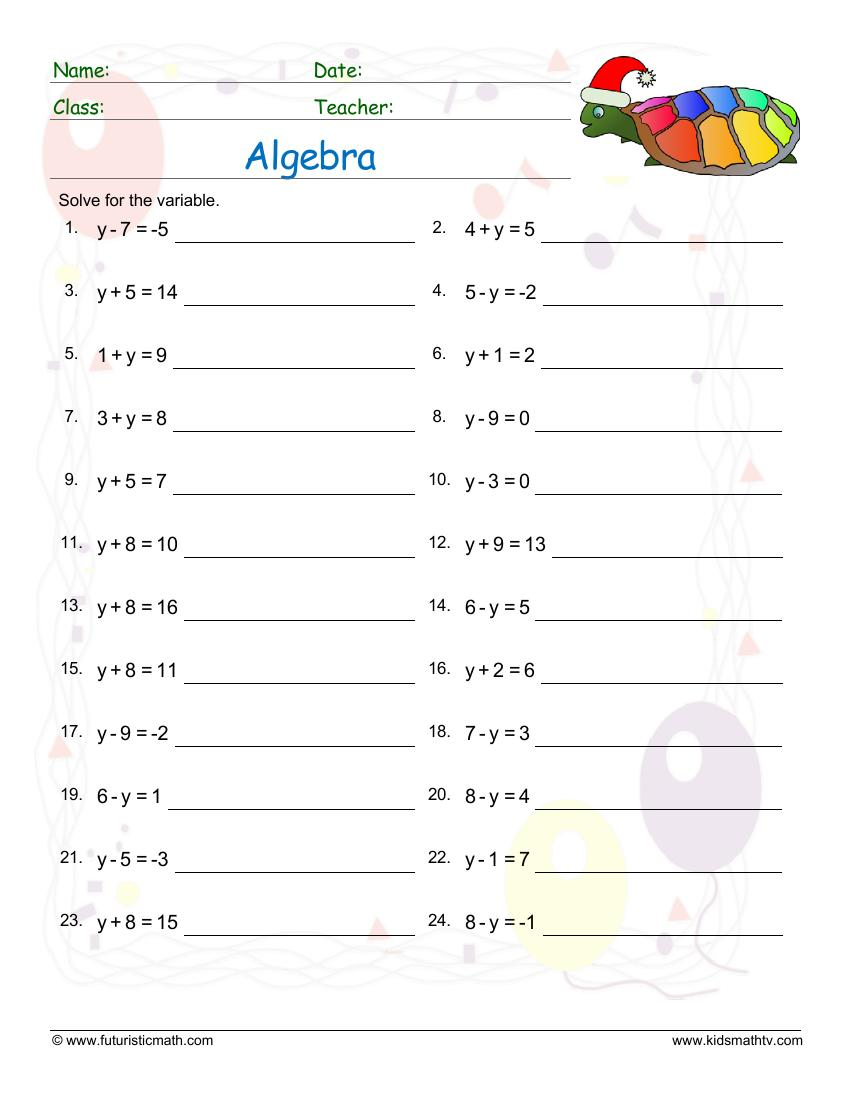 medium resolution of Free Algebra Worksheets pdf downloads. Algebra order of operations   Math  Champions