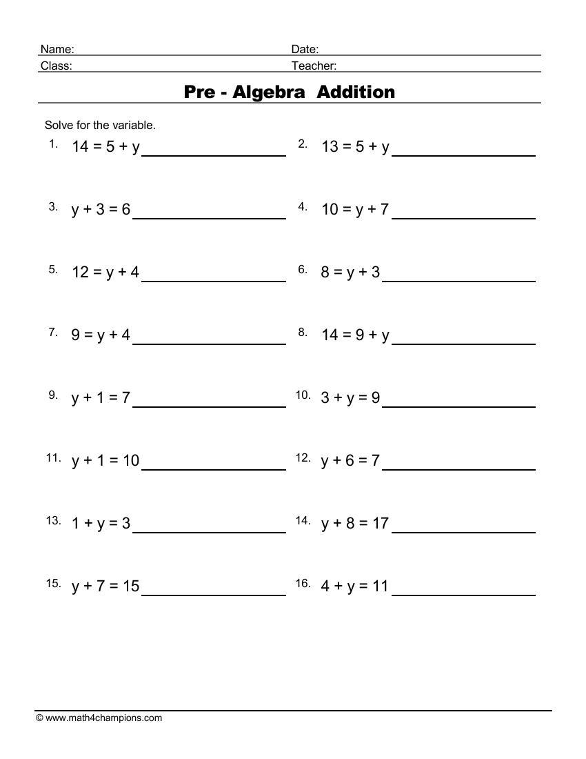 medium resolution of Free Algebra Worksheets pdf downloads. Algebra order of operations   Math  Champions