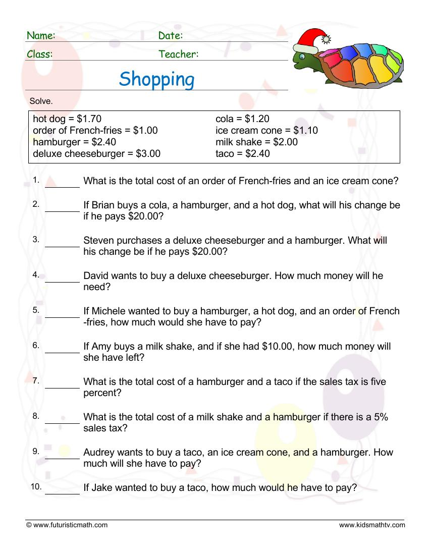 medium resolution of Money And Consumer Math Worksheets pdf   Math Champions