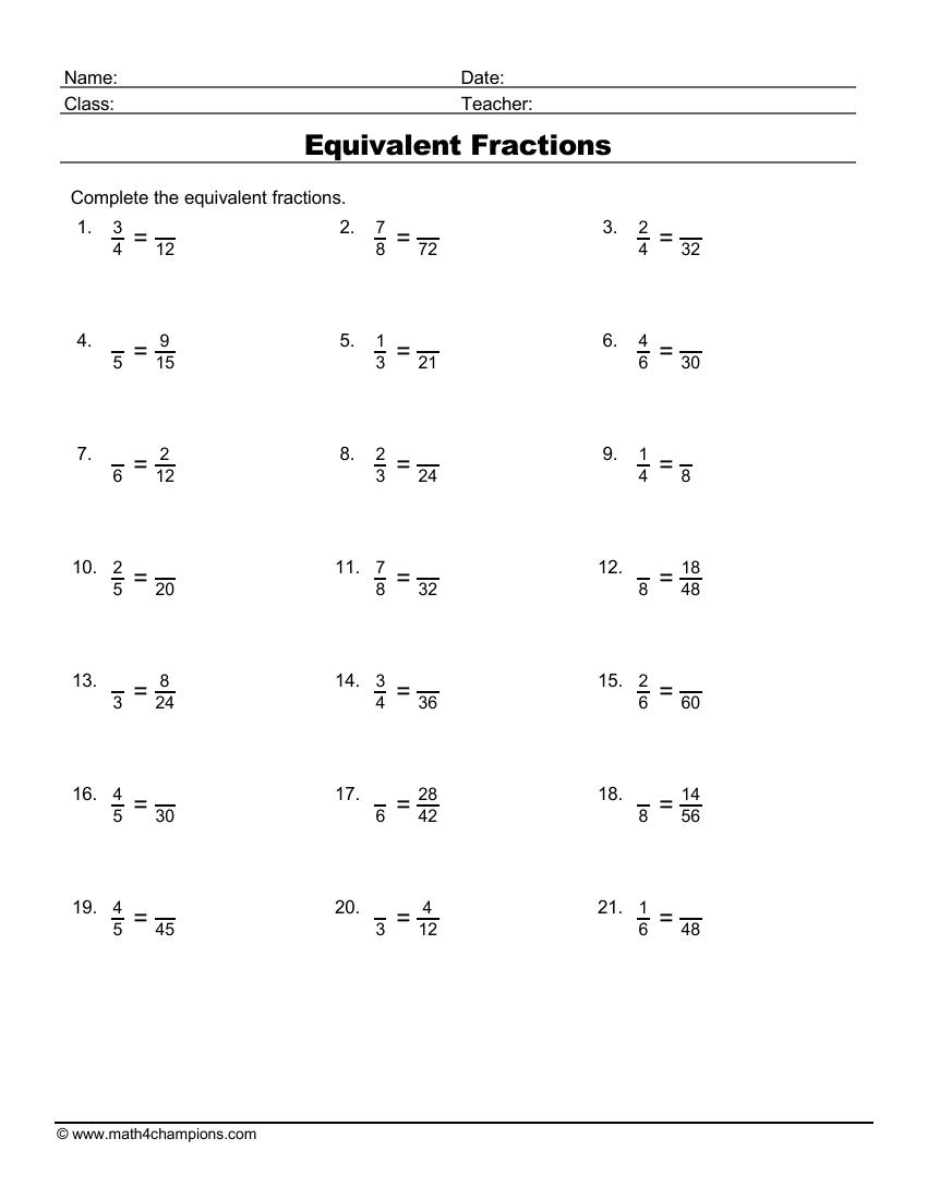 medium resolution of Fraction Worksheets pdf Downloads   Math Champions