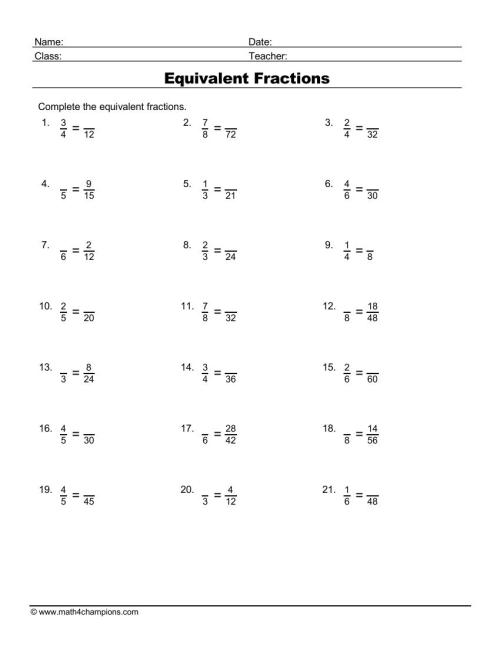 small resolution of Fraction Worksheets pdf Downloads   Math Champions