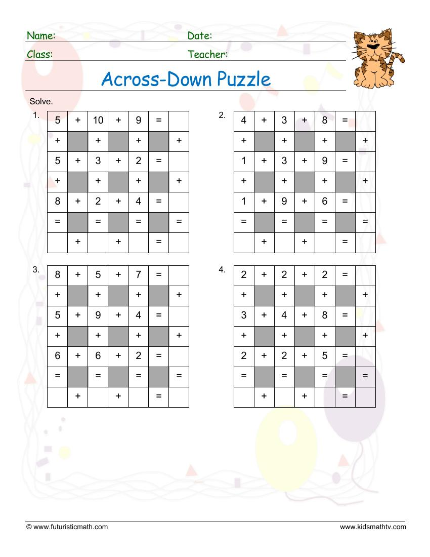 medium resolution of Free Math Puzzles Worksheets pdf printable   Math Champions