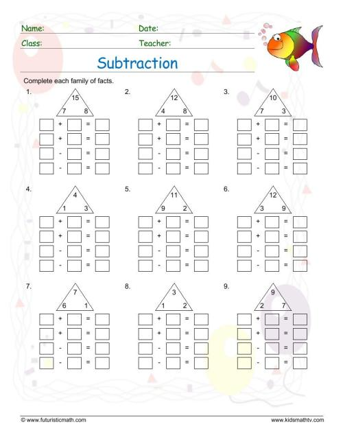 small resolution of Subtraction Math Worksheets pdf printable   Math Champions