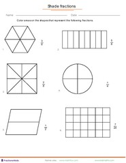 Fraction worksheets for children from kindergarten to 7th