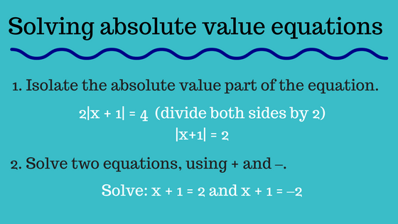 the two steps for solving absolute value equations
