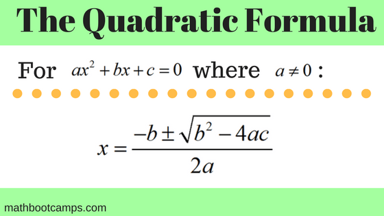 image showing the quadratic formula and the values used in the formula