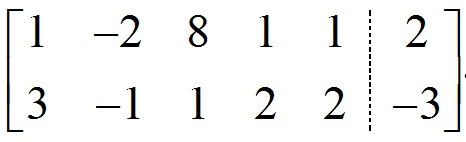 Augmented matrix for example 2. The first row is 1 -2 8 1 1 2, for the coefficients and constants from the first equation. The second row is 3 -1 1 2 2 -3 for the constants and coefficients from the second equation.