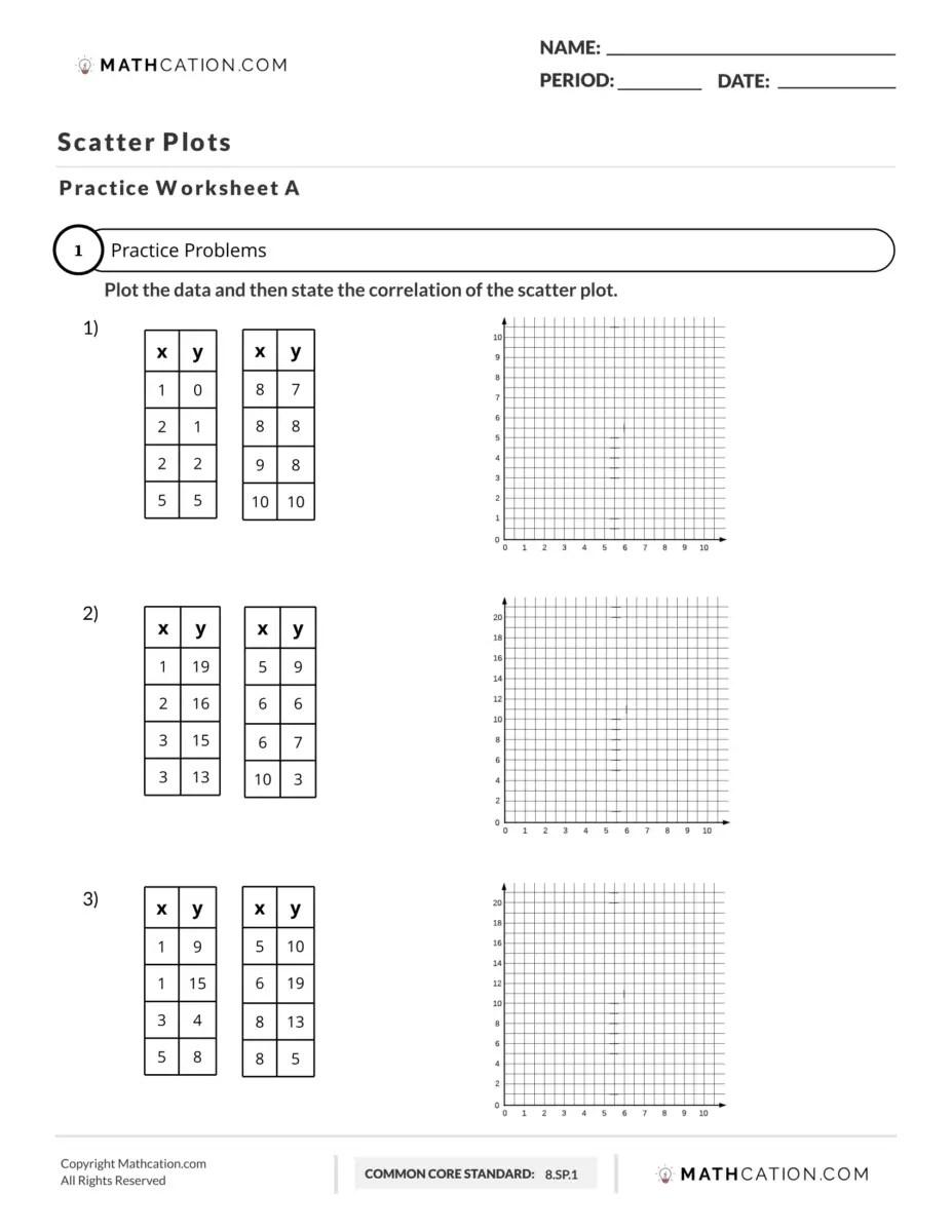 Practice How to Make Scatter Plots Worksheet   Mathcation [ 1200 x 927 Pixel ]