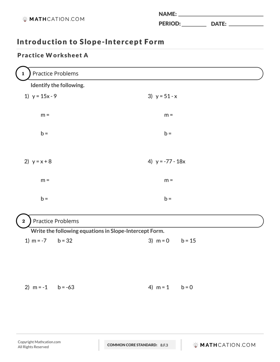 A Simple and Free Slope Intercept Form Worksheet   Mathcation [ 1200 x 927 Pixel ]