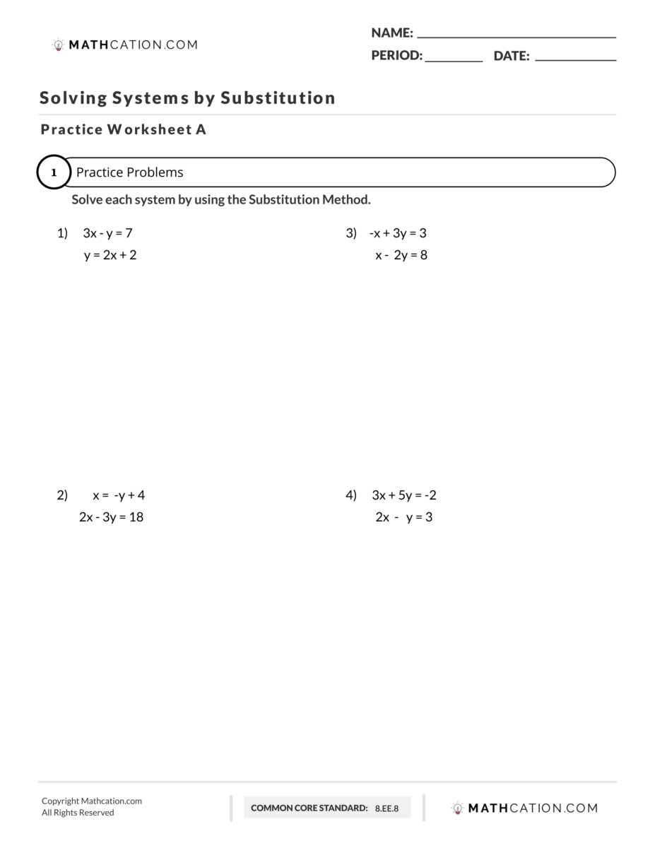 hight resolution of scojo262: Worksheet Solving Systems Of Equations By Substitution