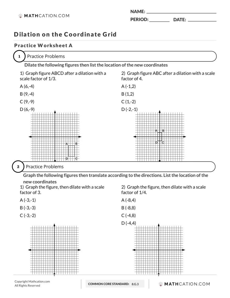 Dilation Worksheet: Free Printable Download   Mathcation [ 1200 x 927 Pixel ]
