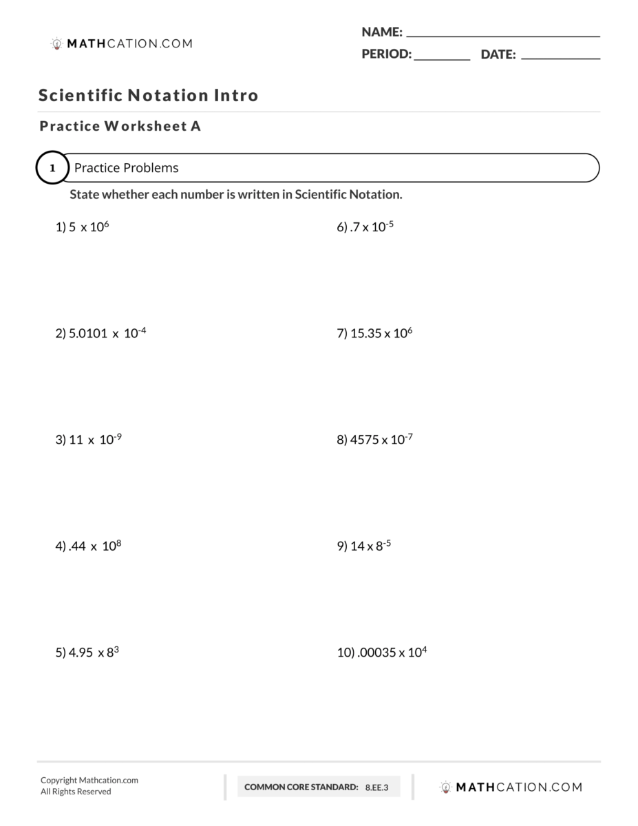 3 Steps to Master any Scientific Notation Worksheet   Mathcation [ 1200 x 927 Pixel ]