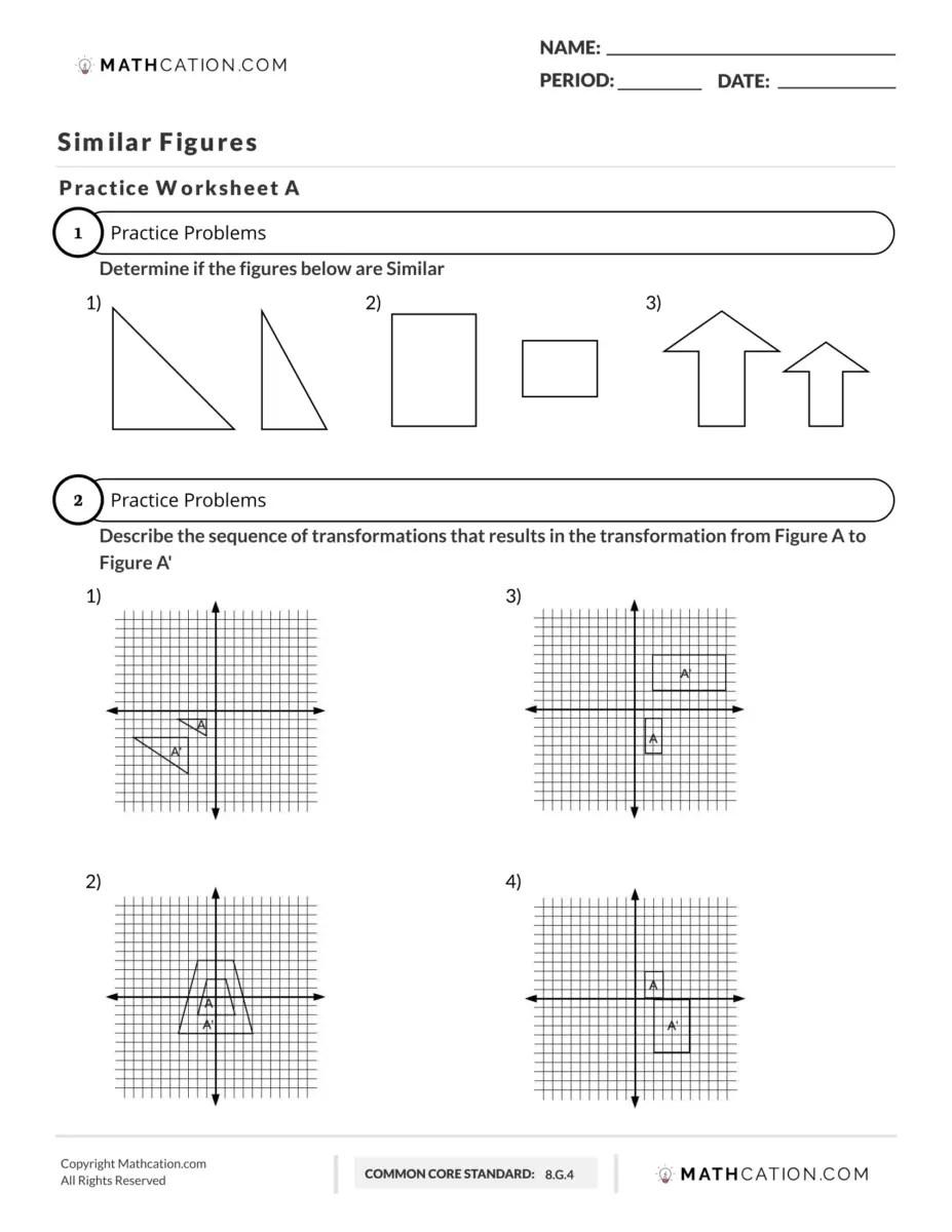 Here's a Free Similar Figures Worksheet Practice   Mathcation [ 1200 x 927 Pixel ]