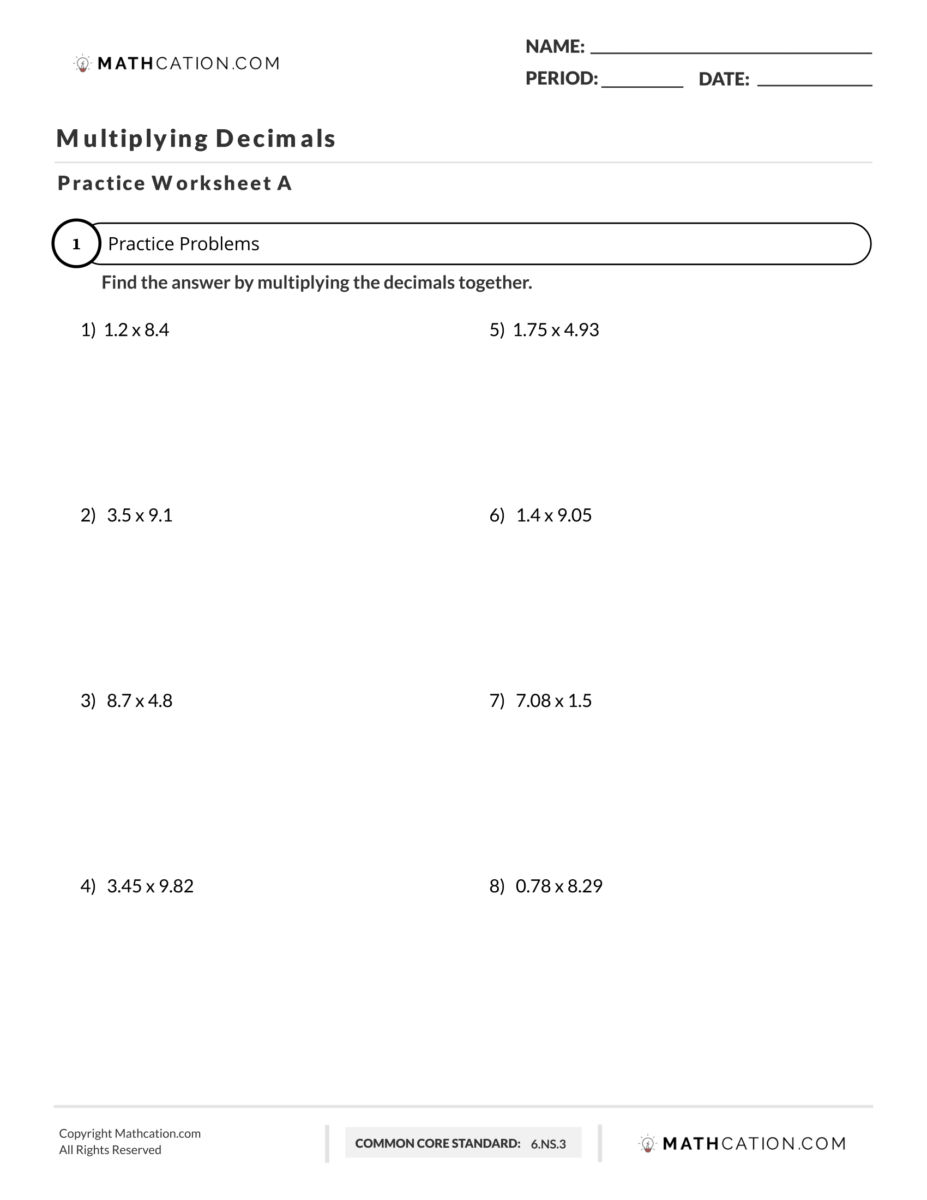 medium resolution of How to Multiply Decimals without using a Calculator   Mathcation